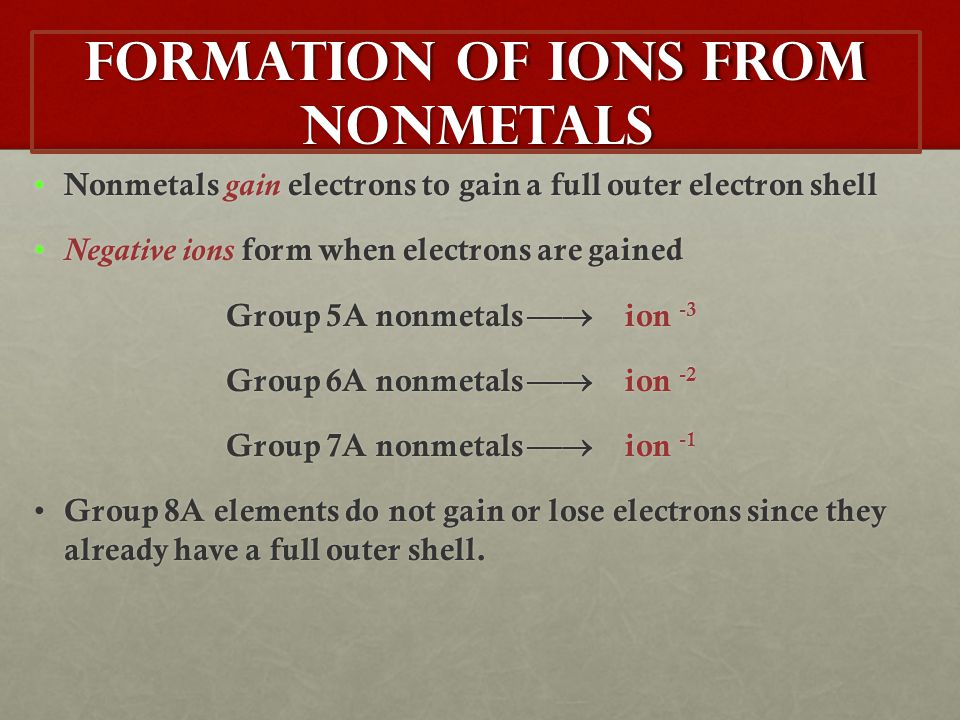 Formation of Ions from Nonmetals Nonmetals gain electrons to gain a full outer electron shell Nonmetals gain electrons to gain a full outer electron s