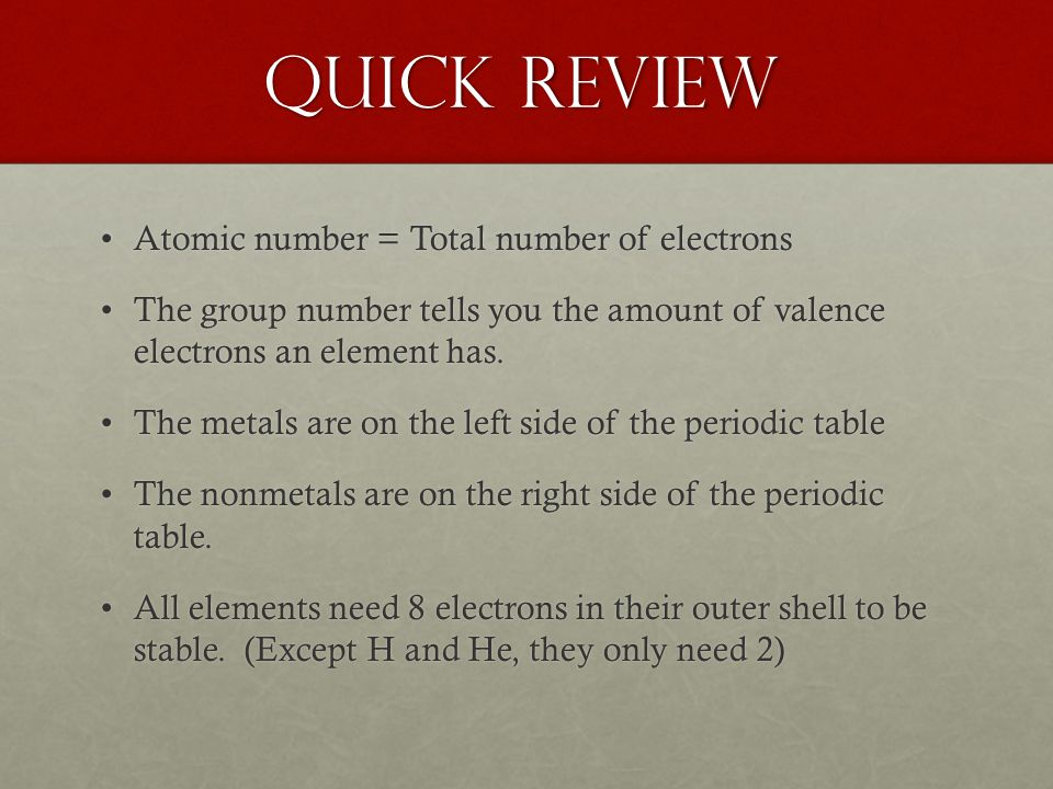 Quick Review Atomic number = Total number of electronsAtomic number = Total number of electrons The group number tells you the amount of valence elect