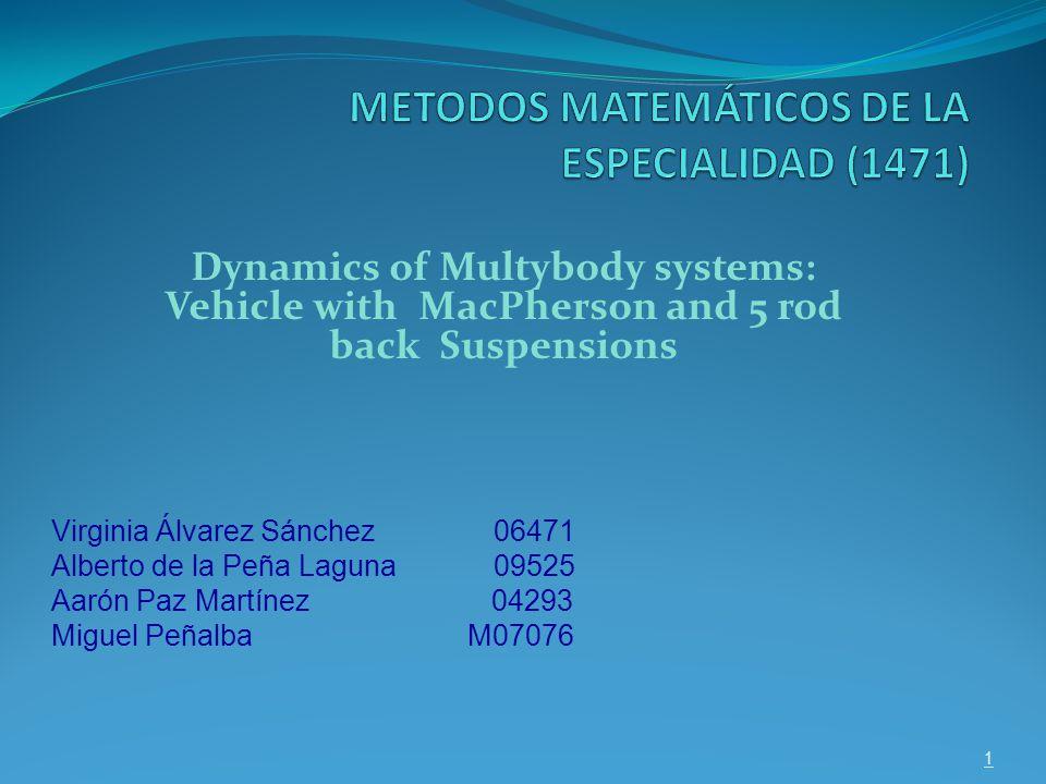 Dynamics of Multybody systems: Vehicle with MacPherson and 5 rod back Suspensions 1 Virginia Álvarez Sánchez 06471 Alberto de la Peña Laguna 09525 Aarón Paz Martínez 04293 Miguel Peñalba M07076