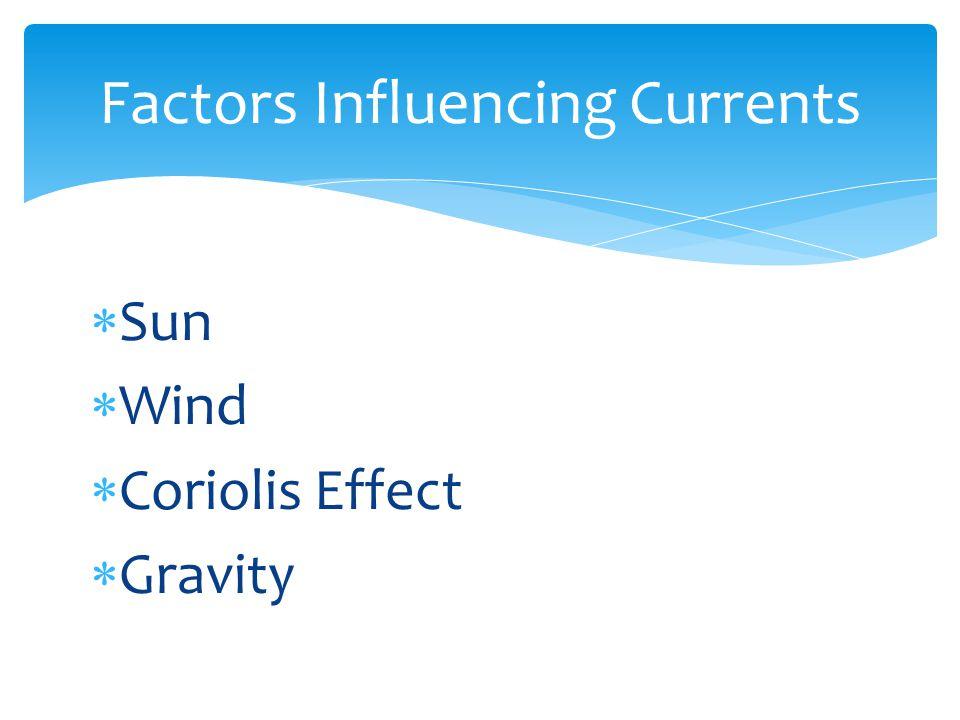  Sun  Wind  Coriolis Effect  Gravity Factors Influencing Currents