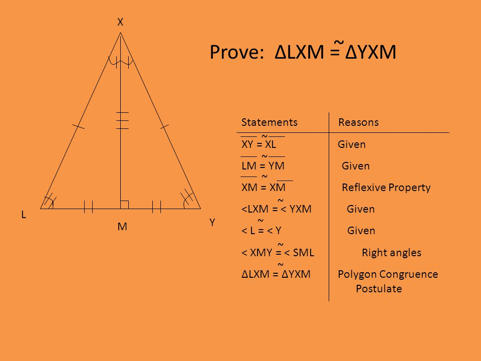 Prove: ΔLXM = ΔYXM ~ X Y M L Statements Reasons XY = XL Given LM = YM Given XM = XM Reflexive Property <LXM = < YXM Given < L = < Y Given < XMY = < SML Right angles ΔLXM = ΔYXM Polygon Congruence Postulate ~ ~ ~ ~ ~ ~ ~