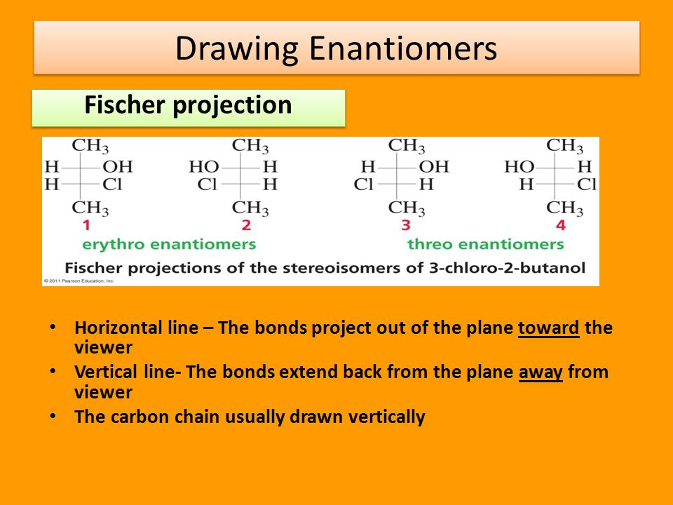 Drawing Enantiomers Perspective formula Solid lines – bonds in the plane of the paper Solid wedge- coming out of the paper toward you Hatched wedge - going back into space behind the paper  The solid wedge and hatched wedge must be adjacent to one another.