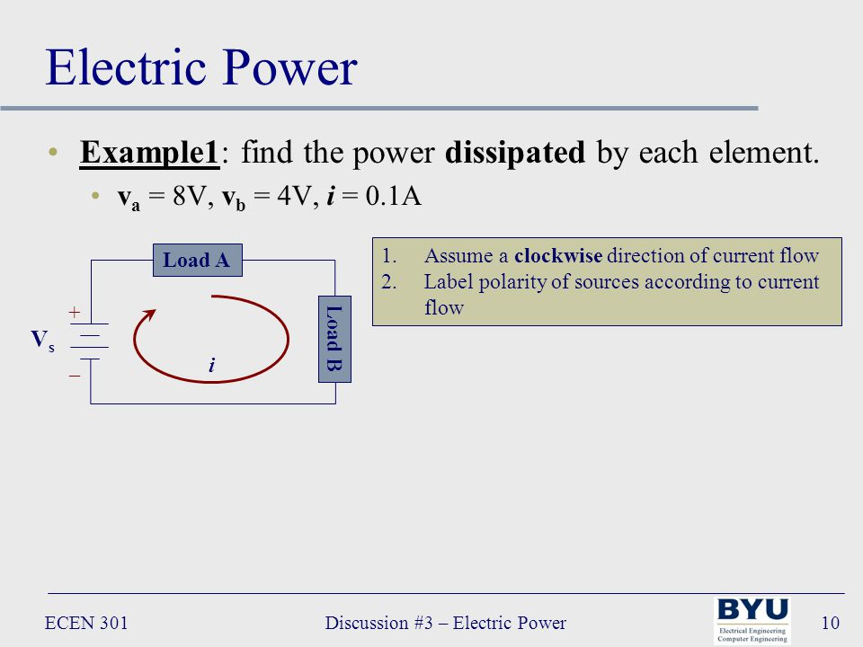 ECEN 301Discussion #3 – Electric Power10 Electric Power Example1: find the power dissipated by each element.