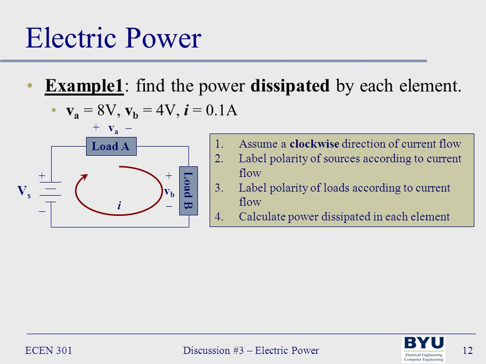 ECEN 301Discussion #3 – Electric Power12 Electric Power Example1: find the power dissipated by each element.