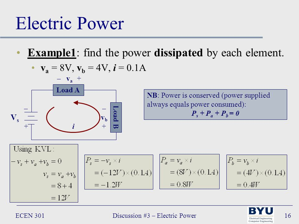 ECEN 301Discussion #3 – Electric Power16 Electric Power Example1: find the power dissipated by each element.