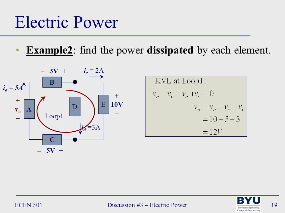 ECEN 301Discussion #3 – Electric Power19 Electric Power Example2: find the power dissipated by each element.