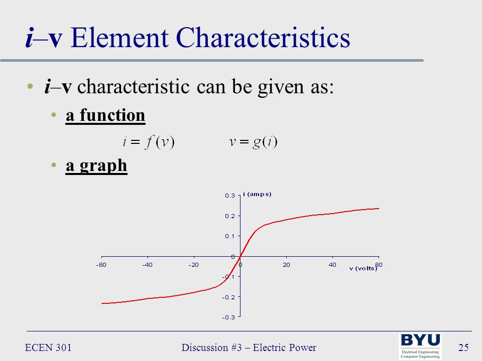 ECEN 301Discussion #3 – Electric Power25 i–v Element Characteristics i–v characteristic can be given as: a function a graph