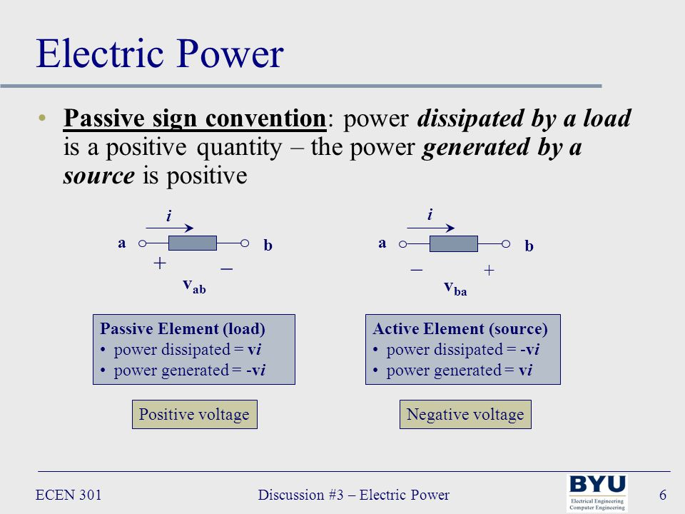 ECEN 301Discussion #3 – Electric Power6 Electric Power Passive sign convention: power dissipated by a load is a positive quantity – the power generated by a source is positive + v ab _ a b i v ba _ a b i + Active Element (source) power dissipated = -vi power generated = vi Passive Element (load) power dissipated = vi power generated = -vi Positive voltageNegative voltage