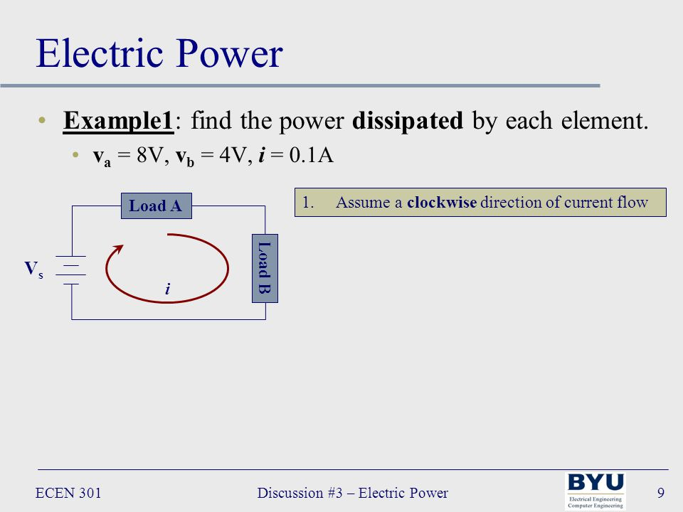 ECEN 301Discussion #3 – Electric Power9 Electric Power Example1: find the power dissipated by each element.