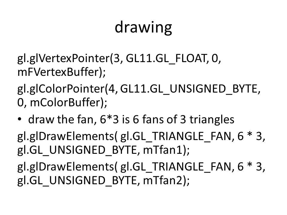 drawing gl.glVertexPointer(3, GL11.GL_FLOAT, 0, mFVertexBuffer); gl.glColorPointer(4, GL11.GL_UNSIGNED_BYTE, 0, mColorBuffer); draw the fan, 6*3 is 6