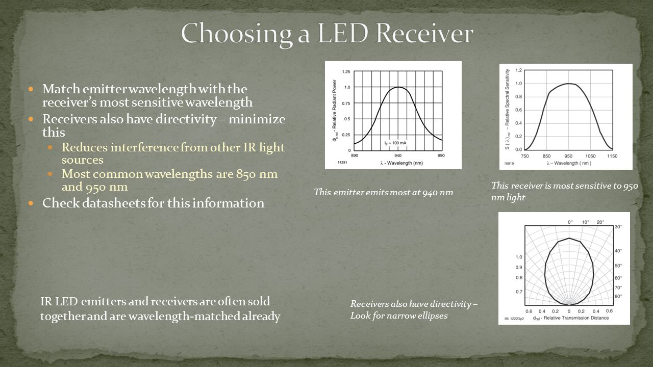Match emitter wavelength with the receiver's most sensitive wavelength Receivers also have directivity – minimize this Reduces interference from other IR light sources Most common wavelengths are 850 nm and 950 nm Check datasheets for this information This emitter emits most at 940 nm This receiver is most sensitive to 950 nm light IR LED emitters and receivers are often sold together and are wavelength-matched already Receivers also have directivity – Look for narrow ellipses