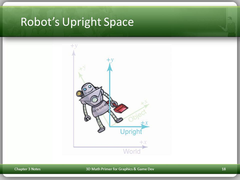 Robot's Upright Space Chapter 3 Notes3D Math Primer for Graphics & Game Dev18