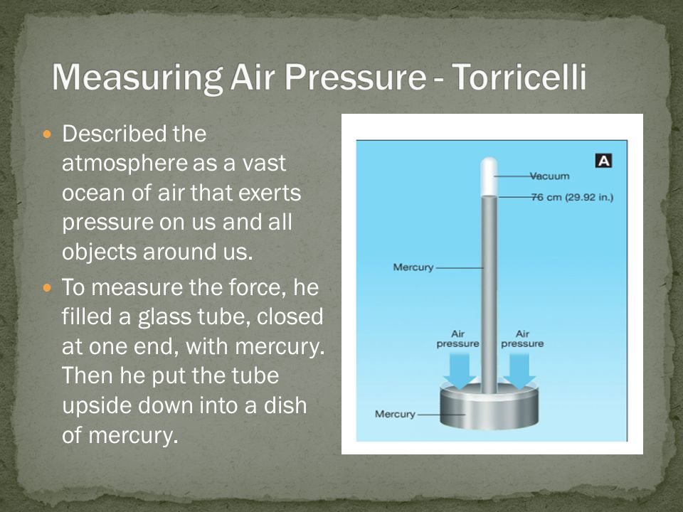 Described the atmosphere as a vast ocean of air that exerts pressure on us and all objects around us. To measure the force, he filled a glass tube, cl