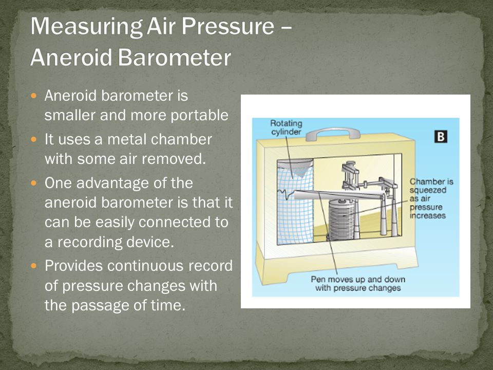 Aneroid barometer is smaller and more portable It uses a metal chamber with some air removed.