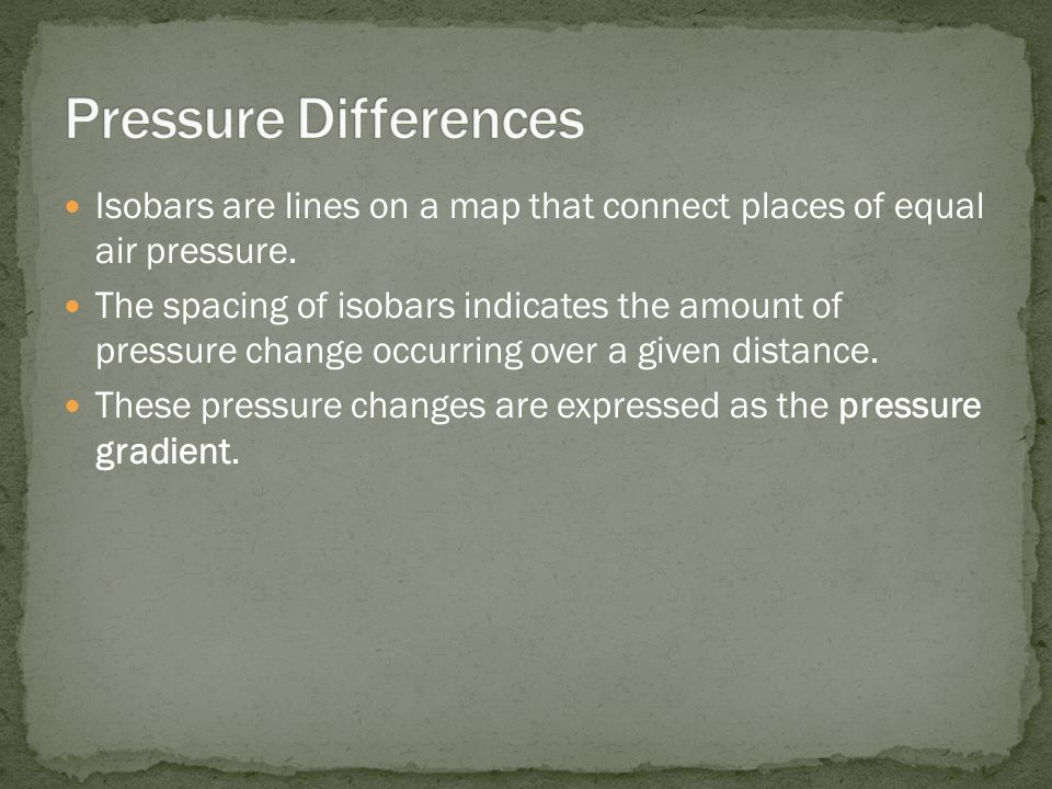 Isobars are lines on a map that connect places of equal air pressure. The spacing of isobars indicates the amount of pressure change occurring over a
