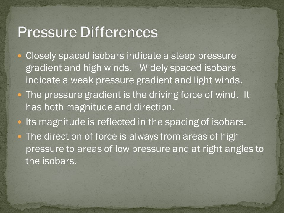 Closely spaced isobars indicate a steep pressure gradient and high winds. Widely spaced isobars indicate a weak pressure gradient and light winds. The