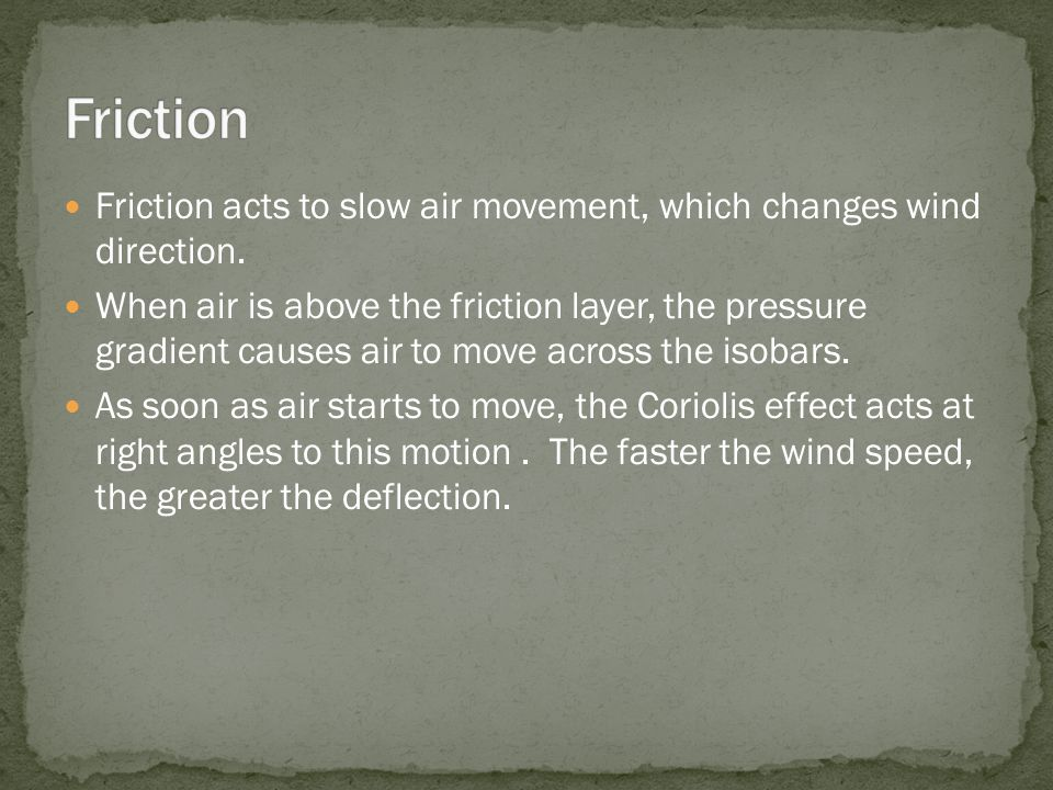 Friction acts to slow air movement, which changes wind direction.