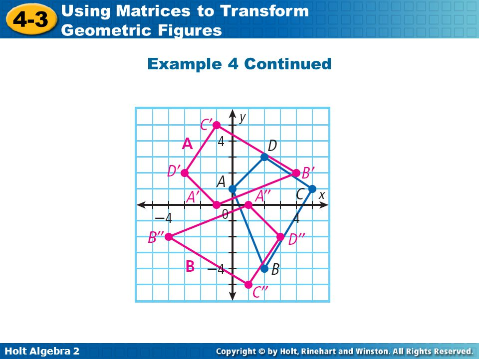 Holt Algebra 2 4-3 Using Matrices to Transform Geometric Figures Example 4 Continued