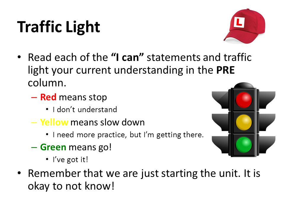 Traffic Light Read each of the I can statements and traffic light your current understanding in the PRE column.