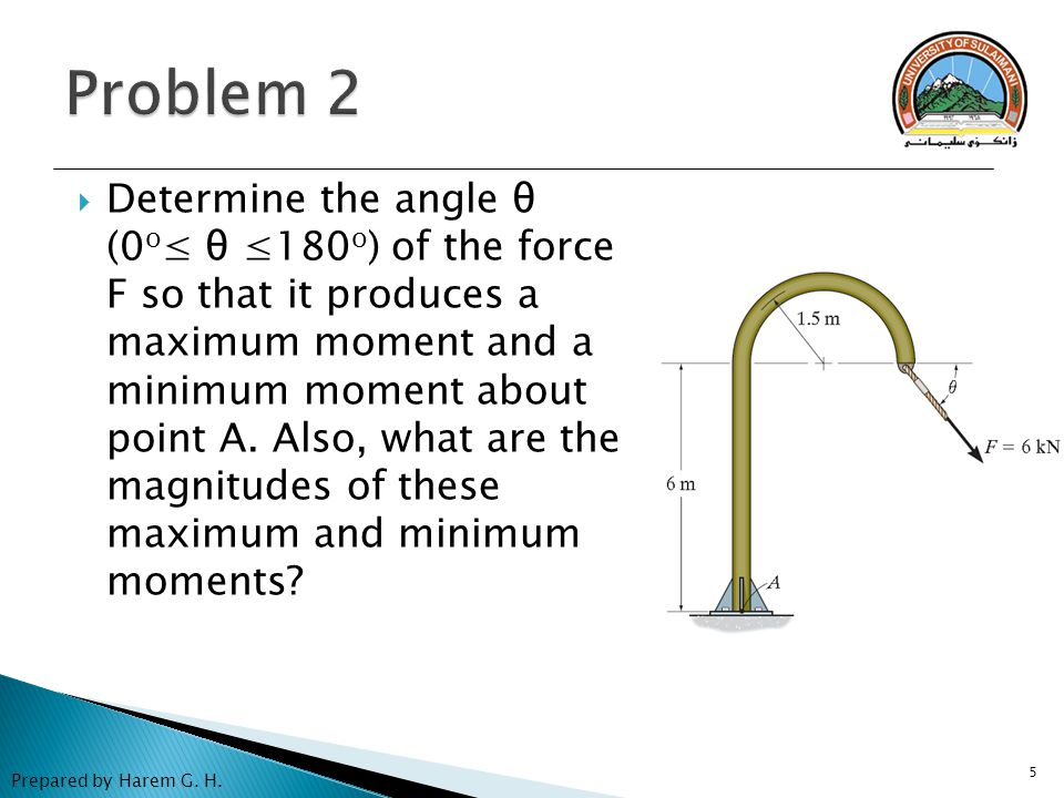 5  Determine the angle θ (0 o ≤ θ ≤180 o ) of the force F so that it produces a maximum moment and a minimum moment about point A. Also, what are the
