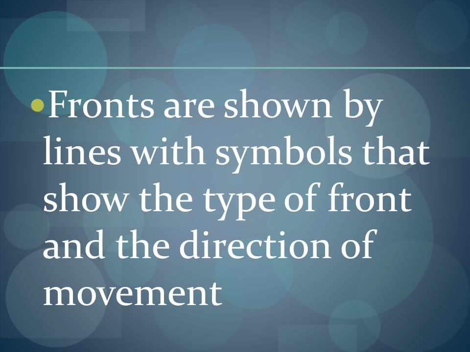 Fronts are shown by lines with symbols that show the type of front and the direction of movement