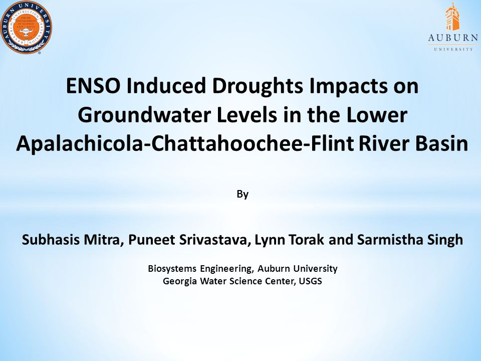 ENSO Induced Droughts Impacts on Groundwater Levels in the Lower Apalachicola-Chattahoochee-Flint River Basin By Subhasis Mitra, Puneet Srivastava, Lynn Torak and Sarmistha Singh Biosystems Engineering, Auburn University Georgia Water Science Center, USGS