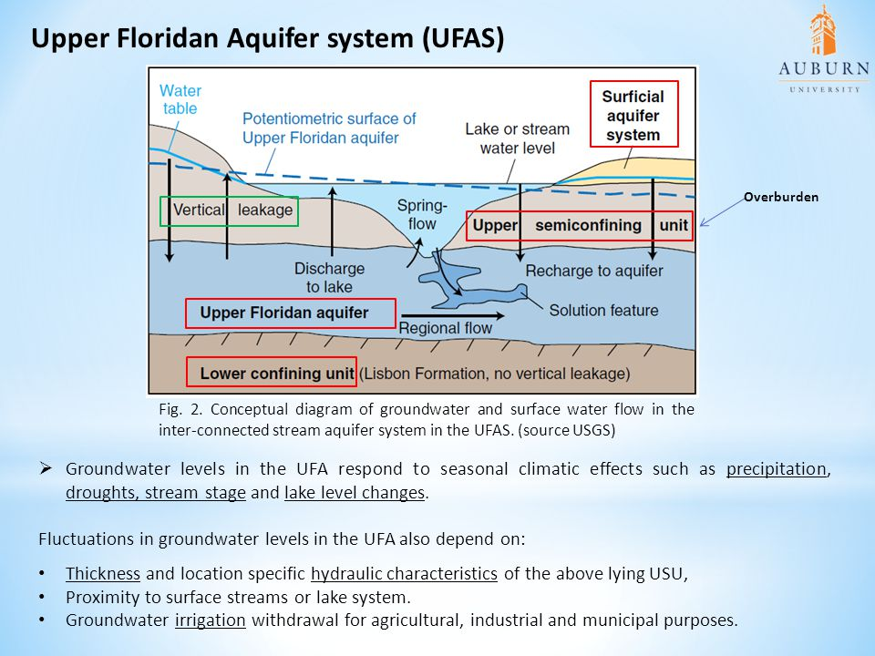 Upper Floridan Aquifer system (UFAS)  Groundwater levels in the UFA respond to seasonal climatic effects such as precipitation, droughts, stream stage and lake level changes.