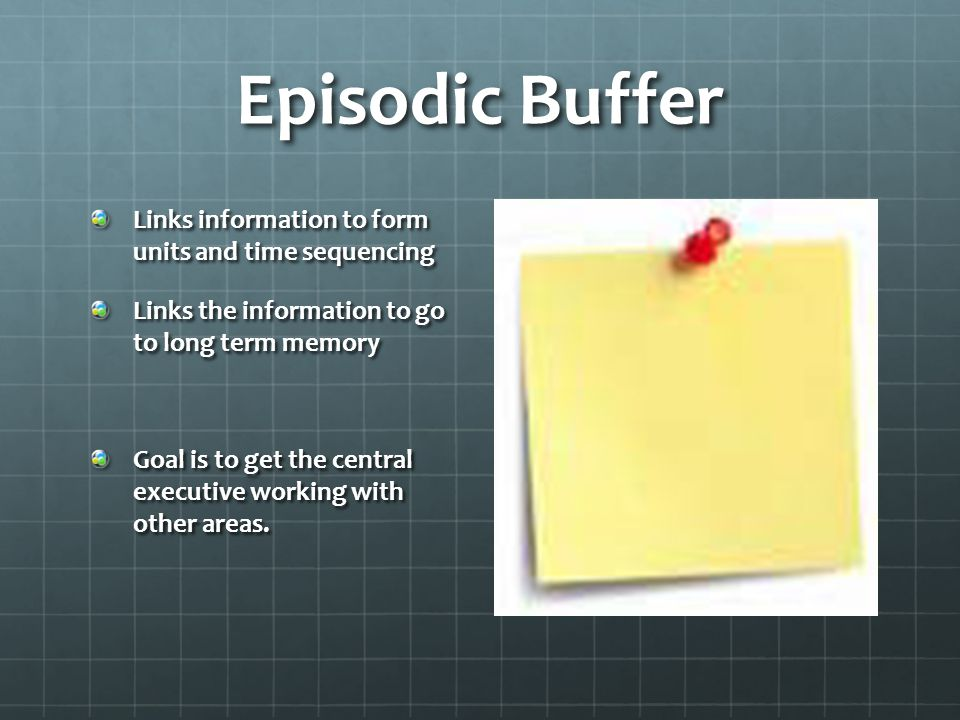 Episodic Buffer Links information to form units and time sequencing Links the information to go to long term memory Goal is to get the central executive working with other areas.