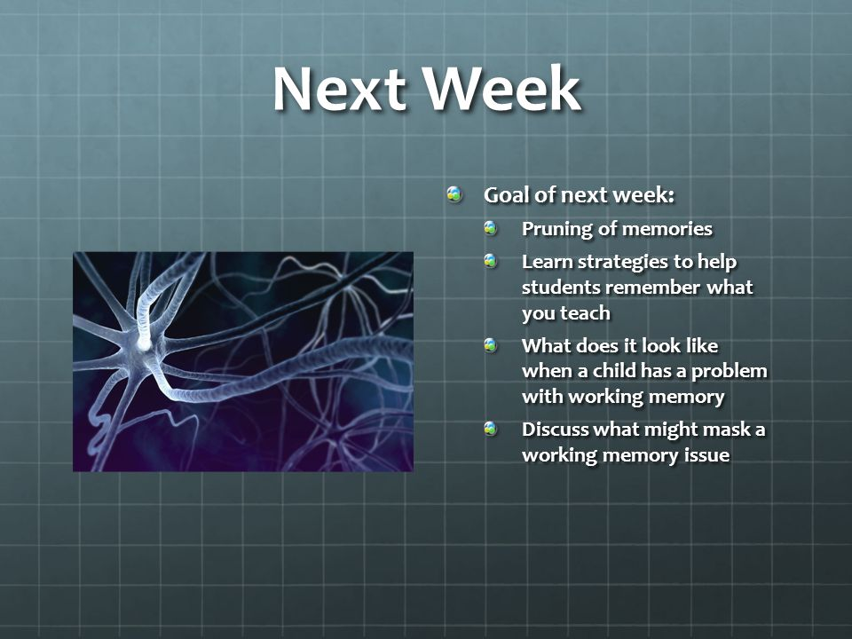 Next Week Goal of next week: Pruning of memories Learn strategies to help students remember what you teach What does it look like when a child has a problem with working memory Discuss what might mask a working memory issue