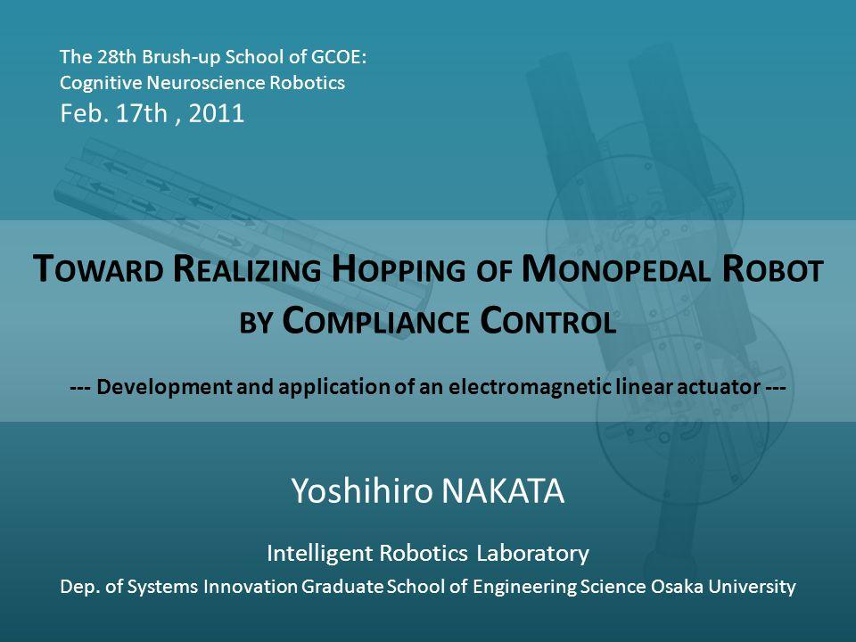 Yoshihiro NAKATA Intelligent Robotics Laboratory Dep.