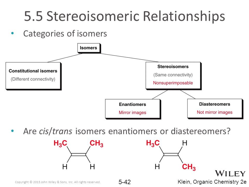 5.5 Stereoisomeric Relationships Categories of isomers Are cis/trans isomers enantiomers or diastereomers.