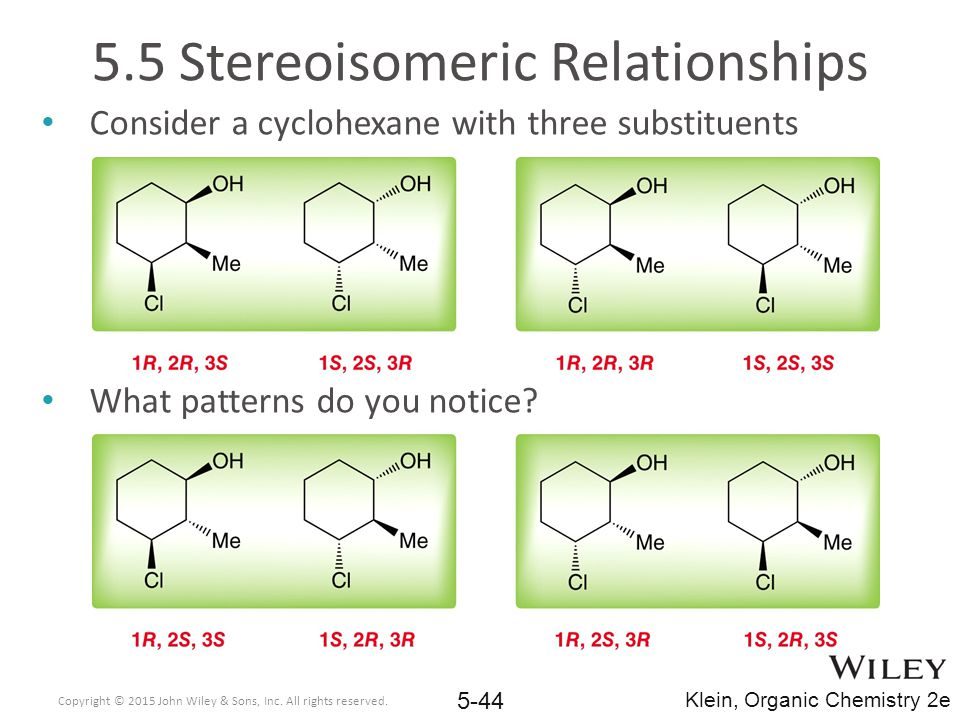 Consider a cyclohexane with three substituents What patterns do you notice.