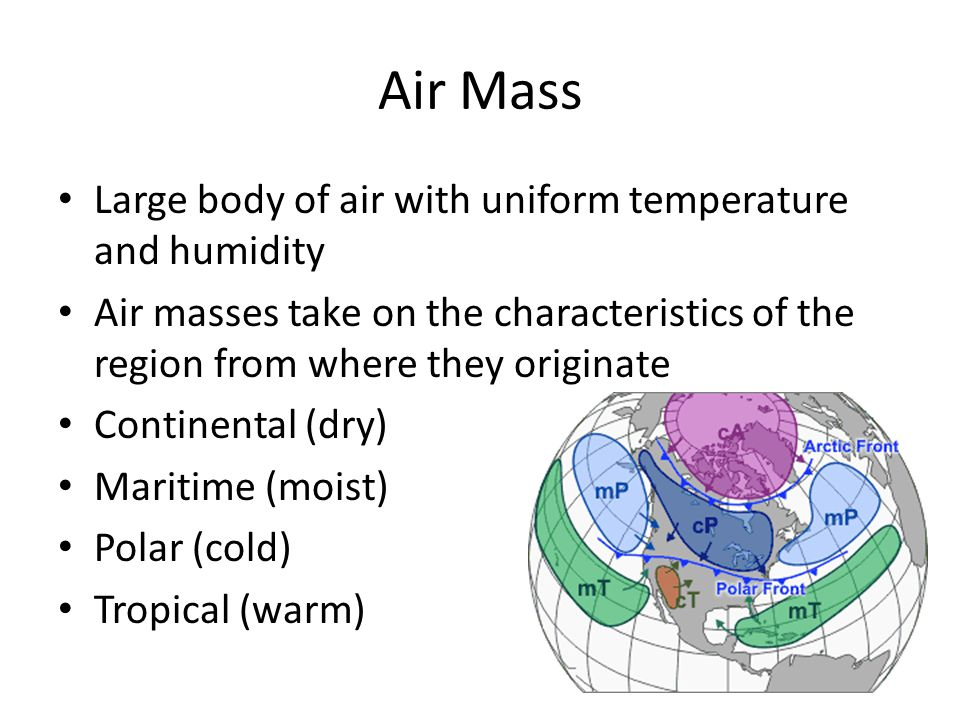Air Mass Large body of air with uniform temperature and humidity Air masses take on the characteristics of the region from where they originate Continental (dry) Maritime (moist) Polar (cold) Tropical (warm)