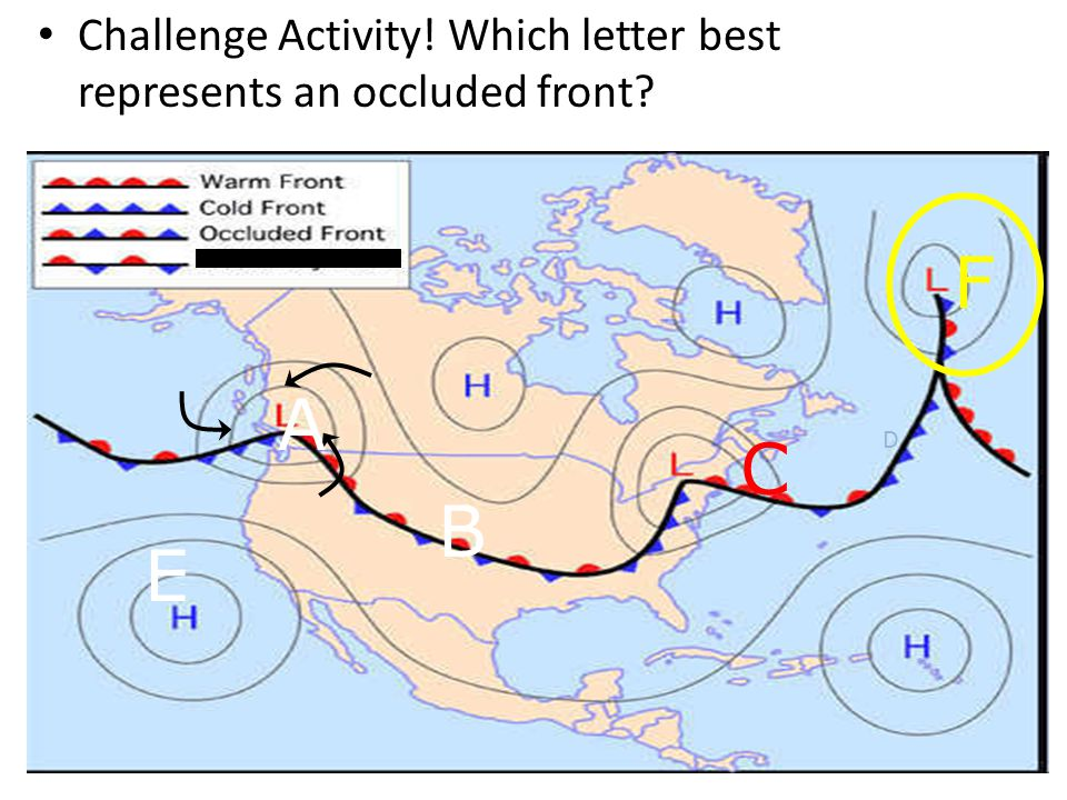 Challenge Activity! Which letter best represents a stationary front? C D B A E F