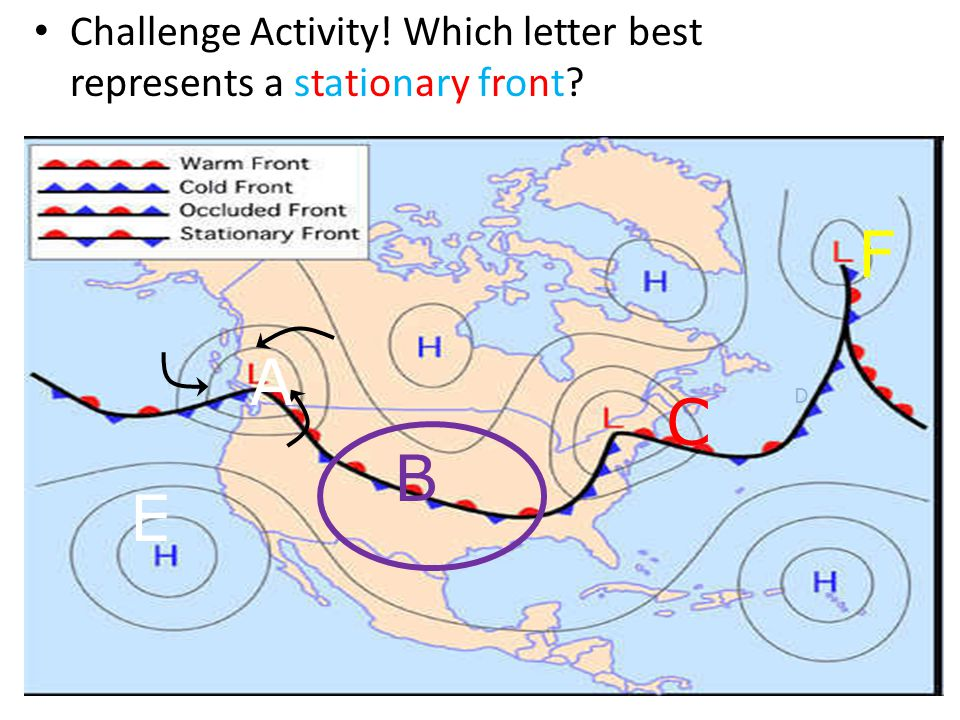 Challenge Activity! Which letter best represents high pressure? C D B A E F
