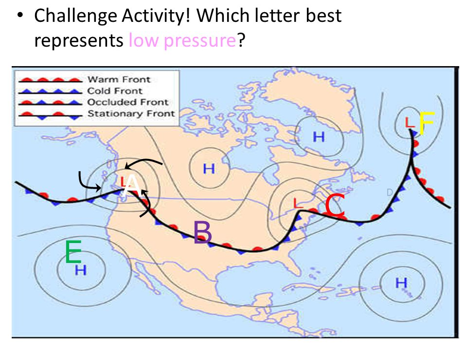 Challenge Activity! Which letter best represents low pressure C D B A E F