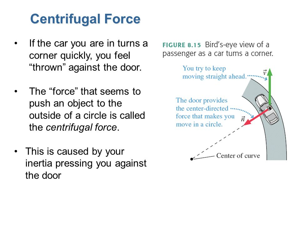 """Centrifugal Force If the car you are in turns a corner quickly, you feel """"thrown"""" against the door. The """"force"""" that seems to push an object to the ou"""