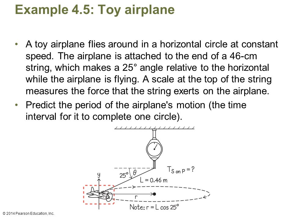 Example 4.5: Toy airplane A toy airplane flies around in a horizontal circle at constant speed. The airplane is attached to the end of a 46-cm string,