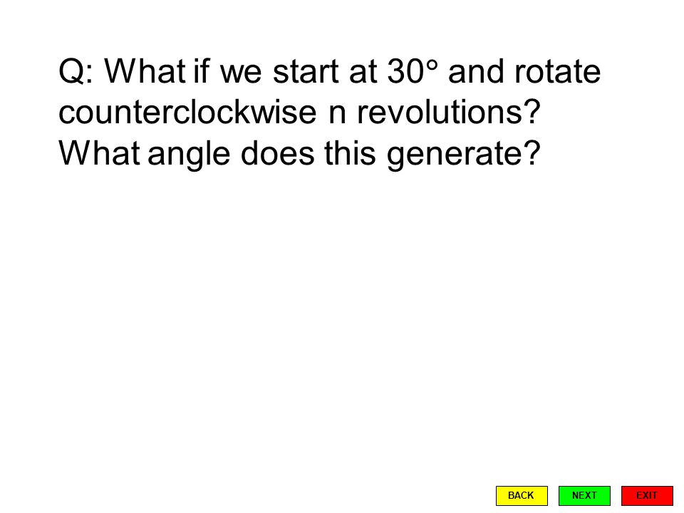 Q: What if we start at 30  and rotate counterclockwise n revolutions.