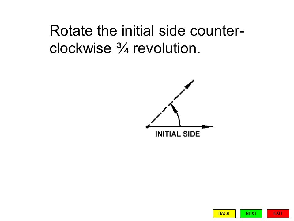Rotate the initial side counter- clockwise ¾ revolution. EXIT BACKNEXT