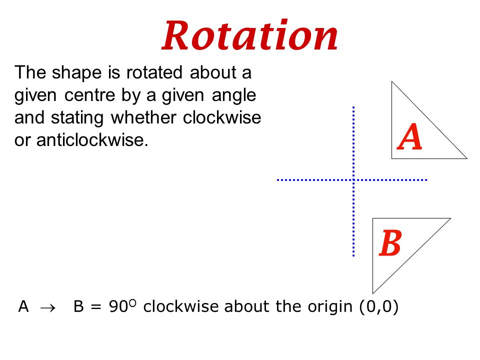 Rotation The shape is rotated about a given centre by a given angle and stating whether clockwise or anticlockwise. B A A  B = 90 O clockwise about t