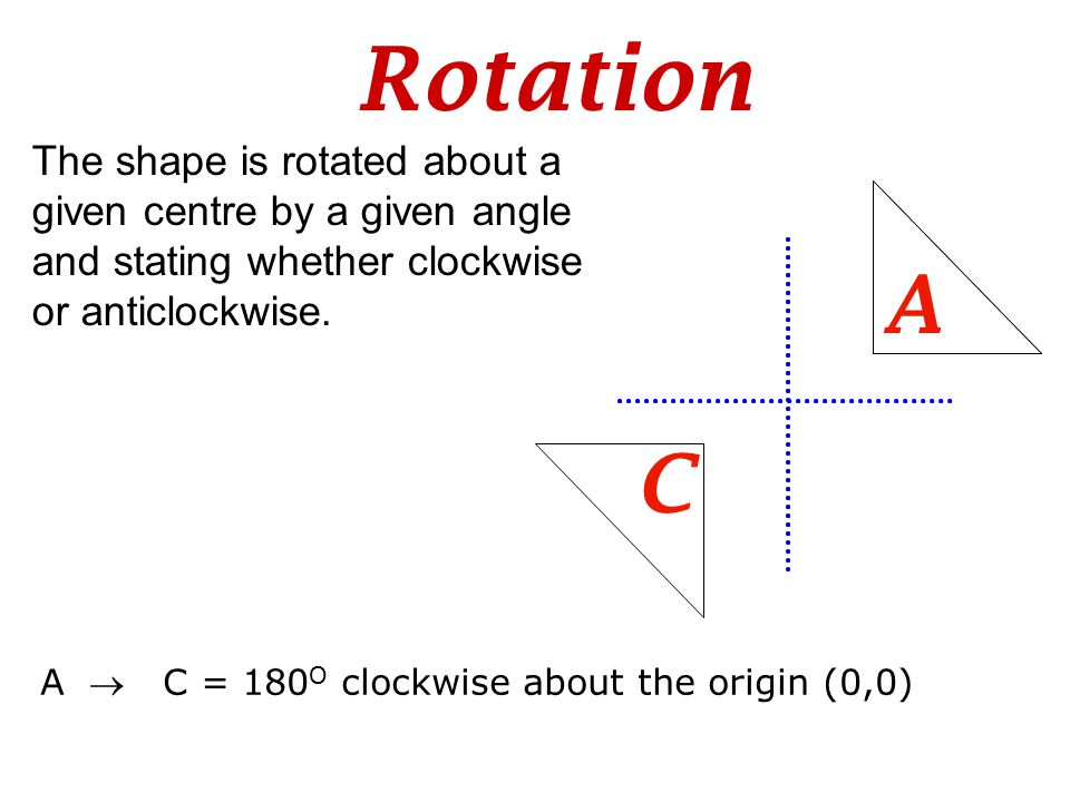 Rotation The shape is rotated about a given centre by a given angle and stating whether clockwise or anticlockwise. C A A  C = 180 O clockwise about