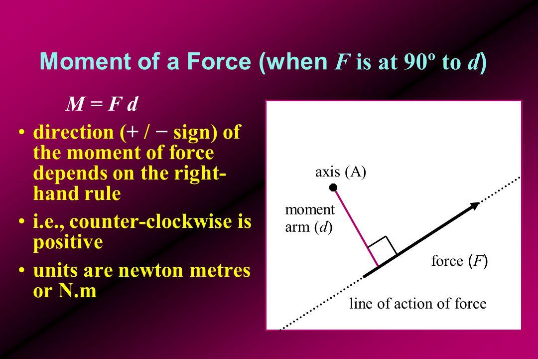 Example Given: r = (20.0, −65.0) cm F = (220, 150.0) N M = [ r x F y − r y F x ] z =[ (20.0  150.0) − (-65.0  220) ] = 3000 + 14 300 = 17 300 N.cm = 173.0 N.m force ( F ) axis (A) r FyFy FxFx ryry rxrx