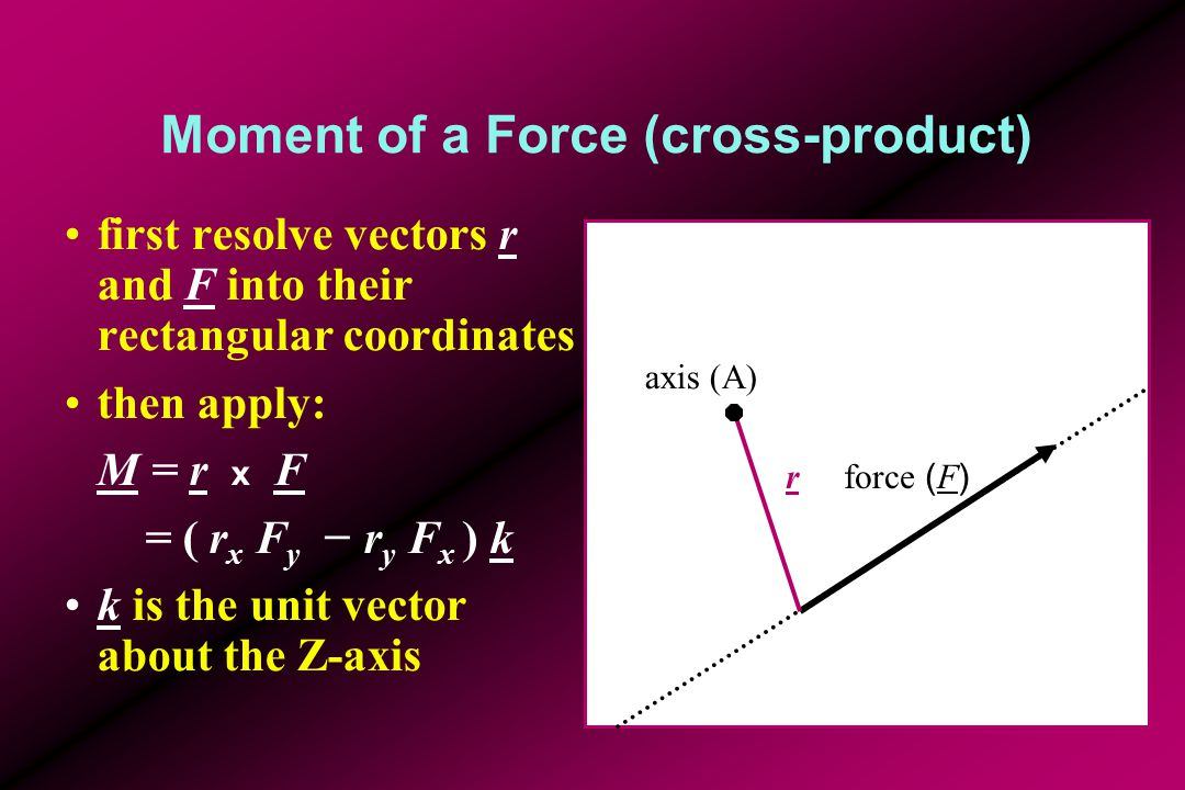 Moment of a Force (cross-product) first resolve vectors r and F into their rectangular coordinates then apply: M = r x F = ( r x F y − r y F x ) k k is the unit vector about the Z-axis force ( F ) axis (A) r FyFy FxFx ryry rxrx