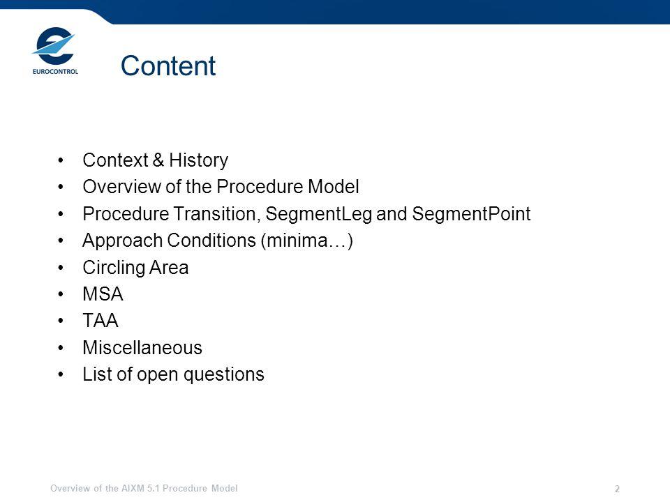 Overview of the AIXM 5.1 Procedure Model 2 Content Context & History Overview of the Procedure Model Procedure Transition, SegmentLeg and SegmentPoint