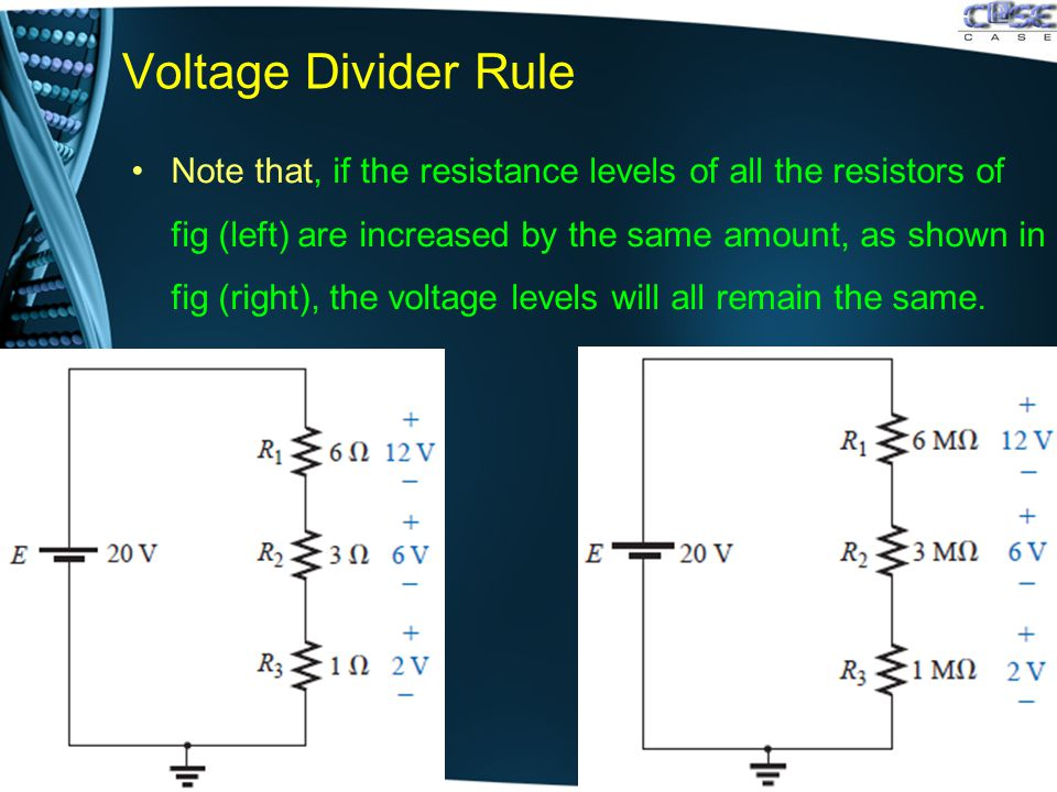 Voltage Divider Rule Note that, if the resistance levels of all the resistors of fig (left) are increased by the same amount, as shown in fig (right), the voltage levels will all remain the same.