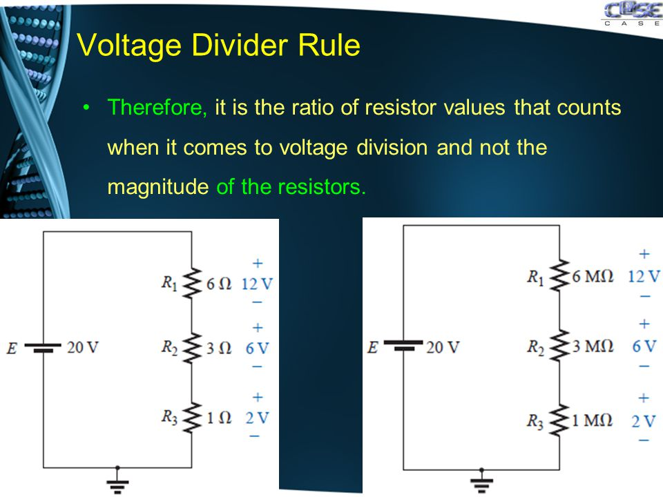 Voltage Divider Rule Therefore, it is the ratio of resistor values that counts when it comes to voltage division and not the magnitude of the resistors.