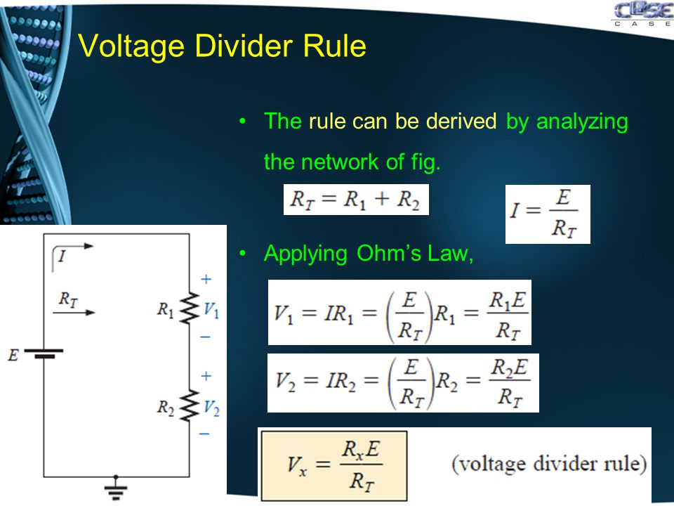 Voltage Divider Rule The rule can be derived by analyzing the network of fig. Applying Ohm's Law,