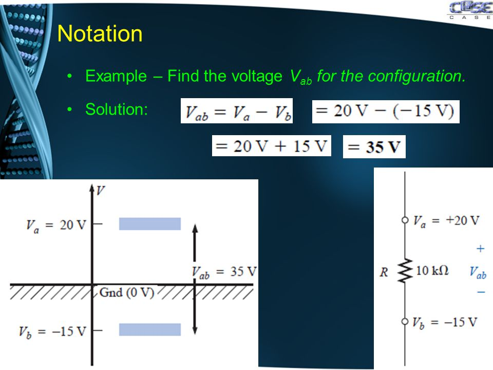 Notation Example – Find the voltage V ab for the configuration. Solution: