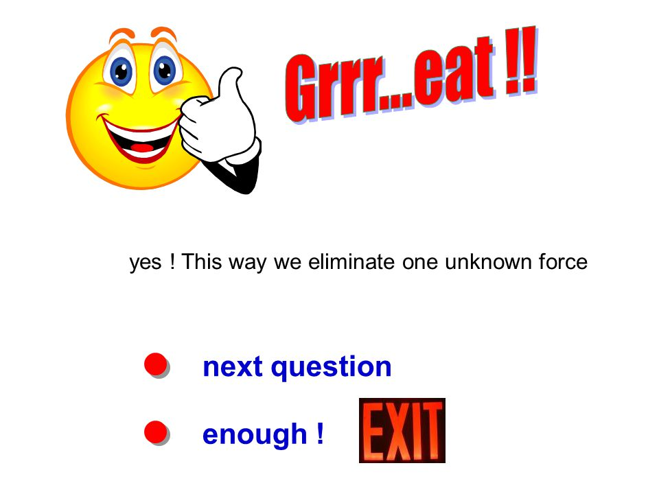 next question enough ! yes ! This way we eliminate one unknown force